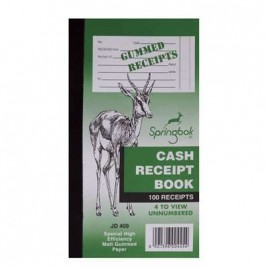 Cash Receipt Book, 114x212mm, 100 Pages, JD409, 4 To View
