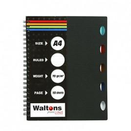 Waltons Wirobound Notebook A4 Feint Ruled W99
